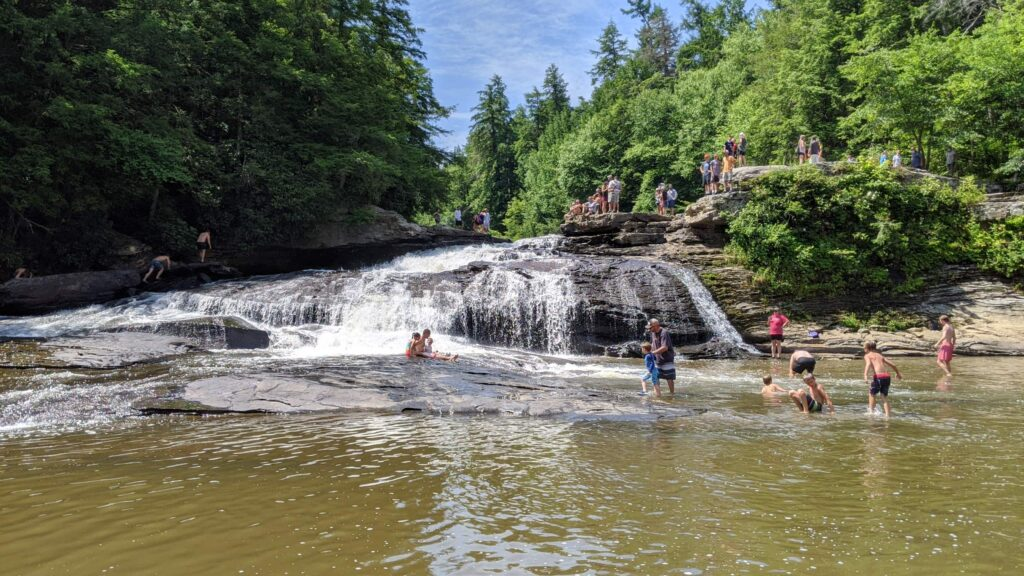 The upper falls of Swallow Falls, near Deep Creek, MD, is a popular swimming hole.